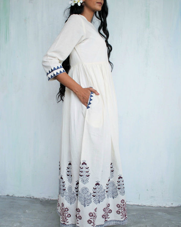 Ivory blue gathered dress 1