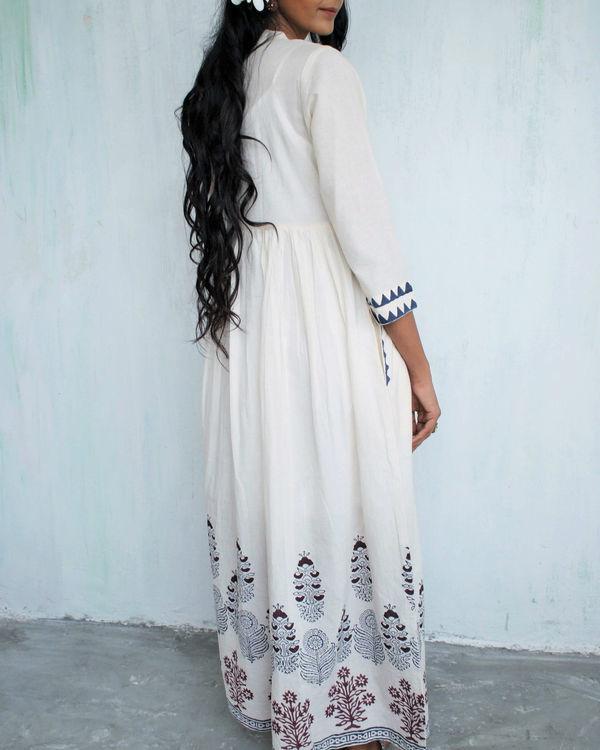 Ivory blue gathered dress 2