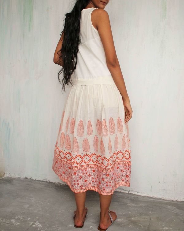 Ivory orange classic dress 2
