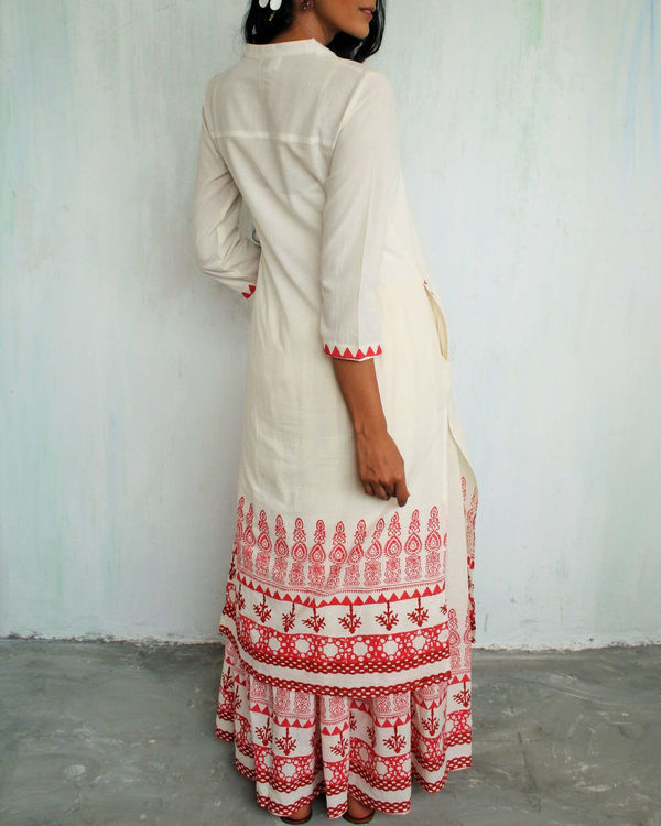 Ivory red straight kurta 1