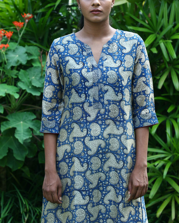Blue chanderi kurta 1