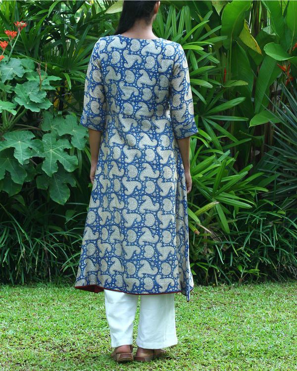 Blue chanderi kurta 2