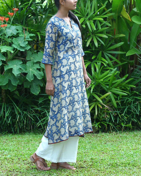Blue chanderi kurta 3
