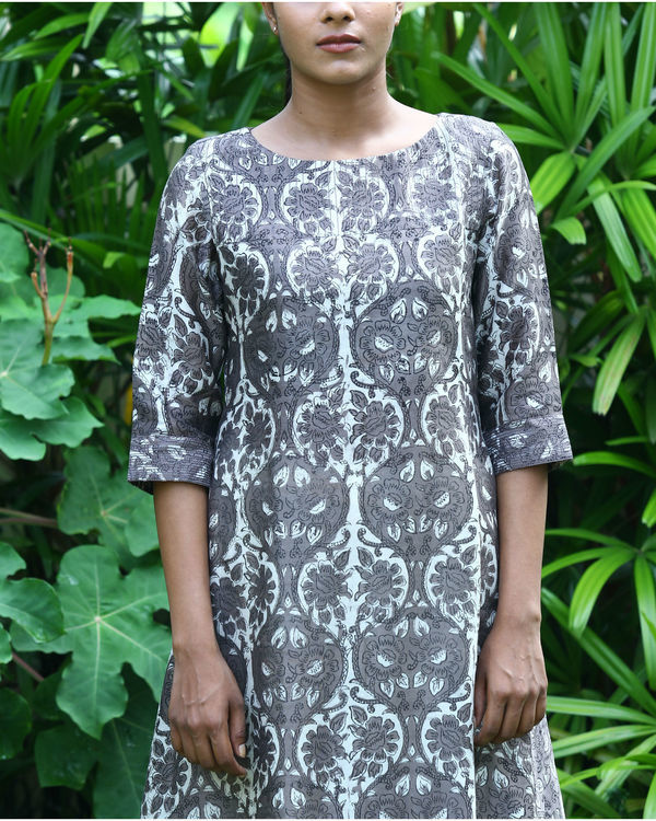 Grey chanderi printed kurta 1