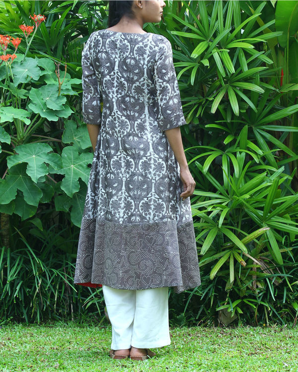 Grey chanderi printed kurta 2