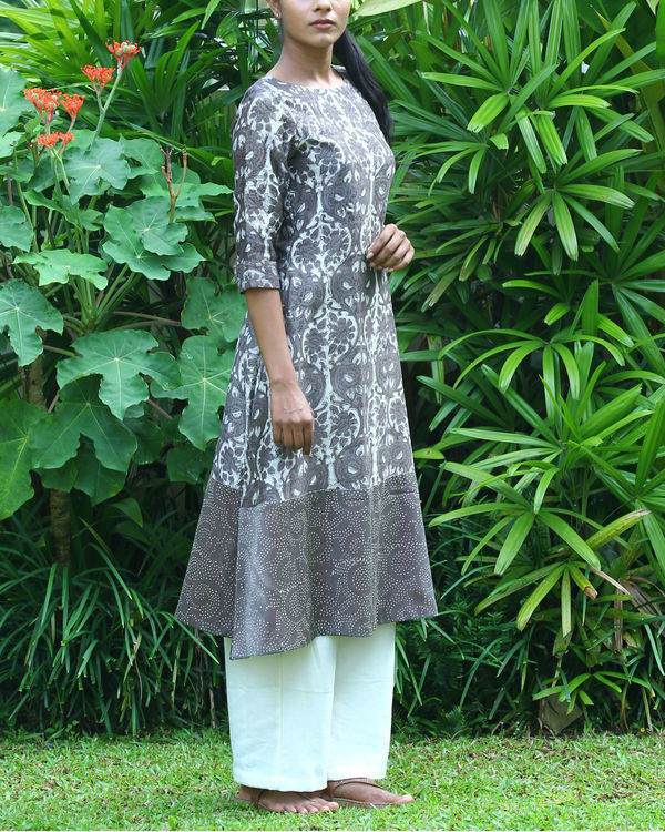 Grey chanderi printed kurta 3