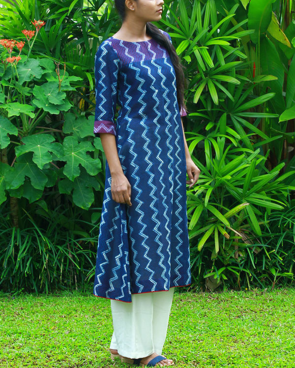 Wave chanderi kurta 3