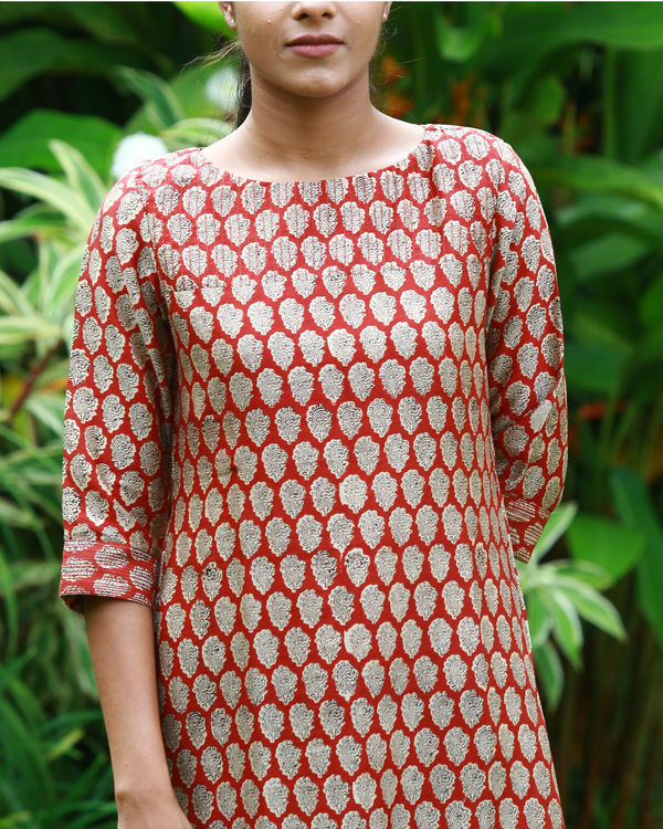 Rust chanderi kurta 1