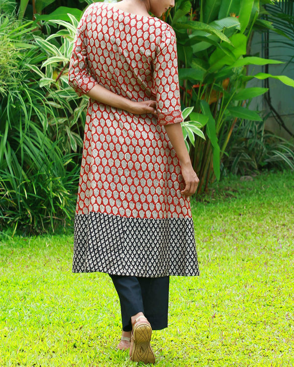 Rust chanderi kurta 2