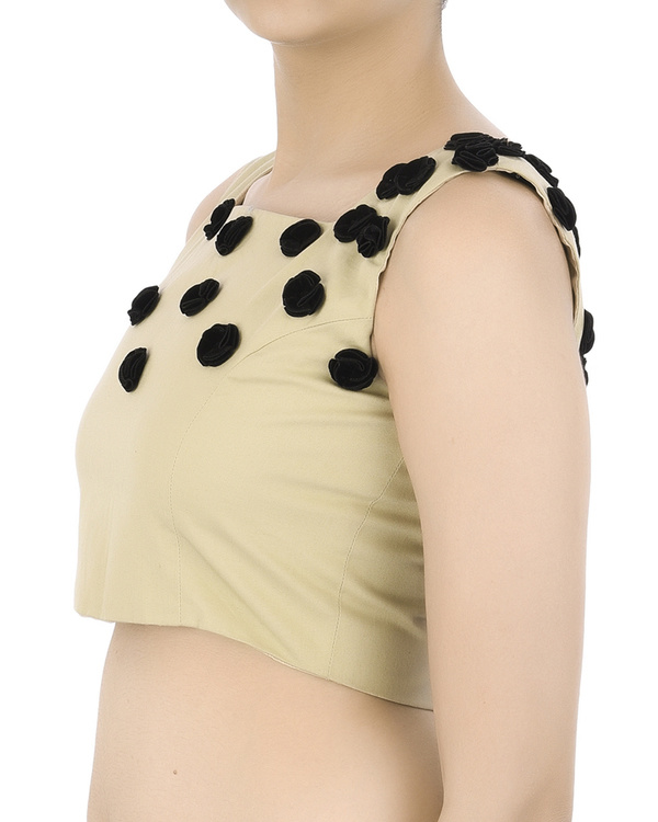 Crop top with black floral applique 1