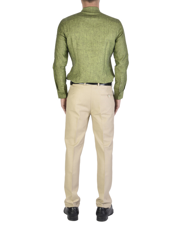 Olive green Shirt with front yoke 1