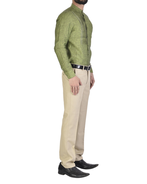 Olive green Shirt with front yoke 2
