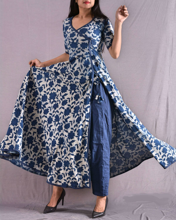 Indigo anarkali set 1