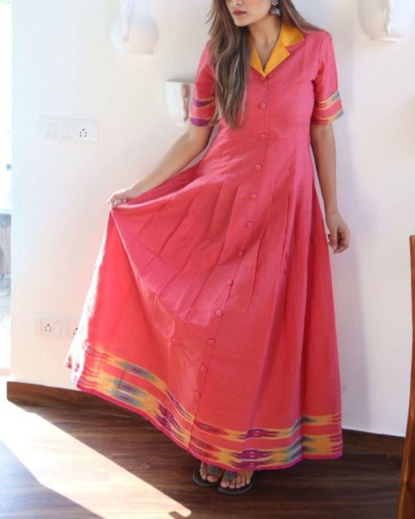 Collared pink ikat maxi 2