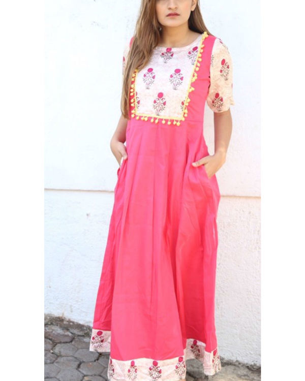 Pink and floral pom-pom maxi 1