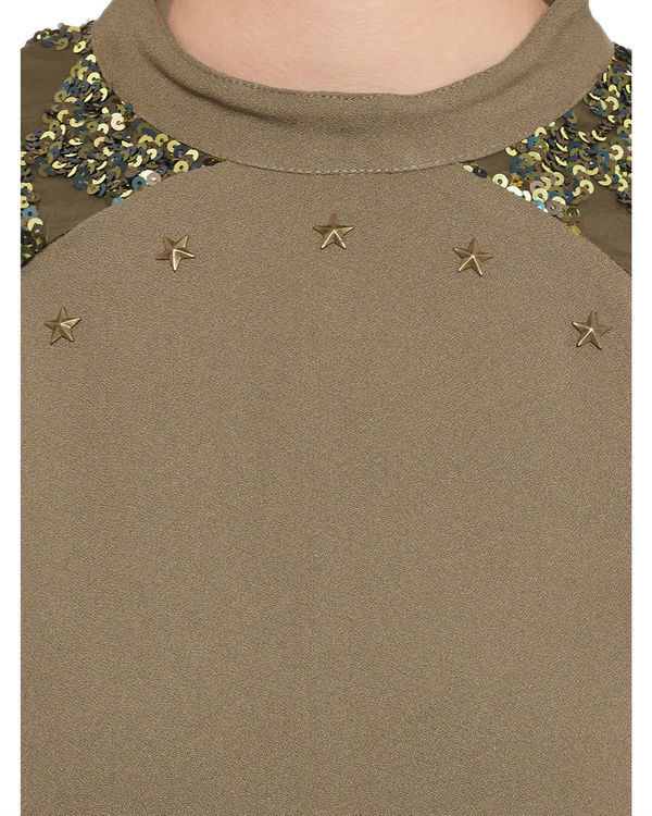 Brown sequined top 1