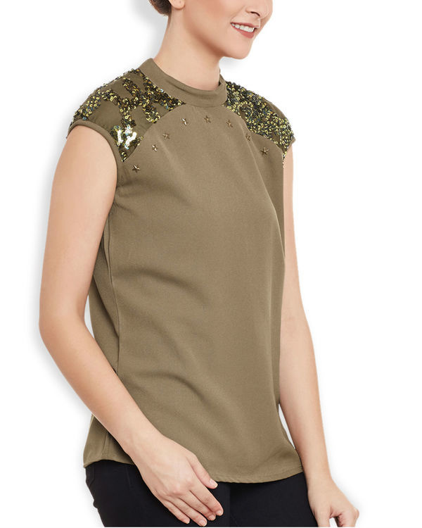 Brown sequined top 2