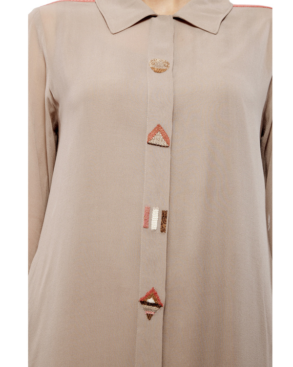Tunic with embroidered detailing on the front placket 1