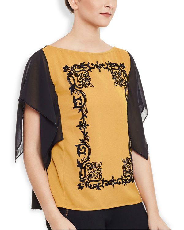 Mustard embroidered top 2