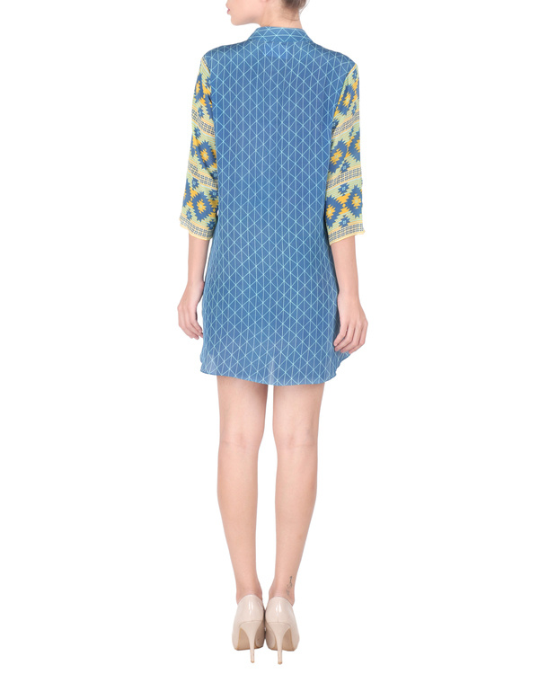 Blue crepe short tunic 2