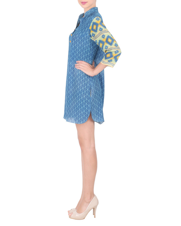 Blue crepe short tunic 3