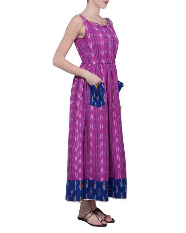 Pink handwoven ikat dress 2