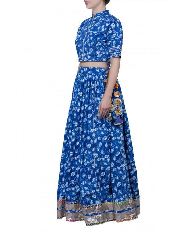 Blue block printed skirt and crop top set 1