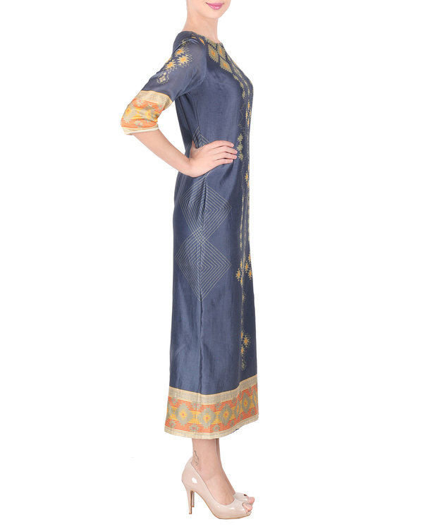 Navy blue long ankle length tunic 3