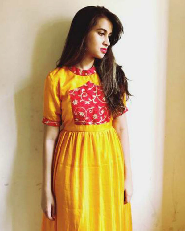 Yellow semi cage dress 1