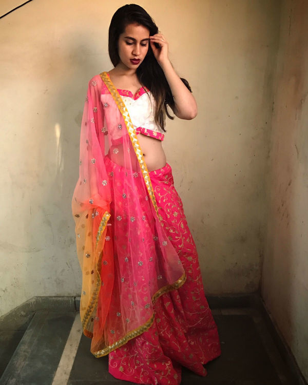Bright pink lehenga set 1