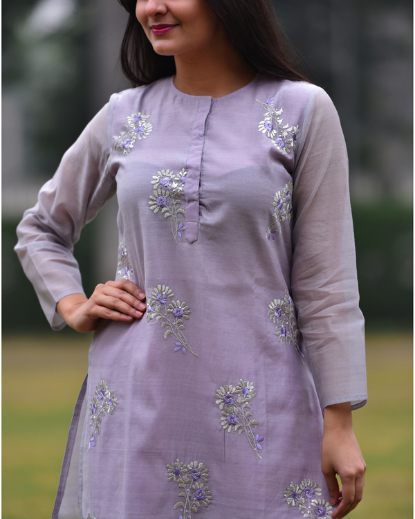 Lilac embroidered tunic 2