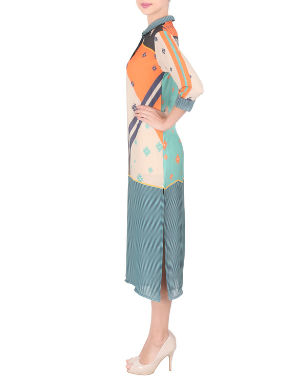 Teal double georgette tunic 3