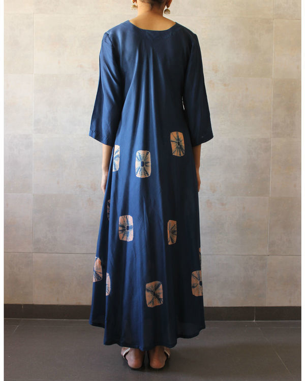 Navy blue bandhej dress 2