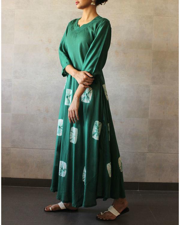 Green  ivory bandhej dress 1