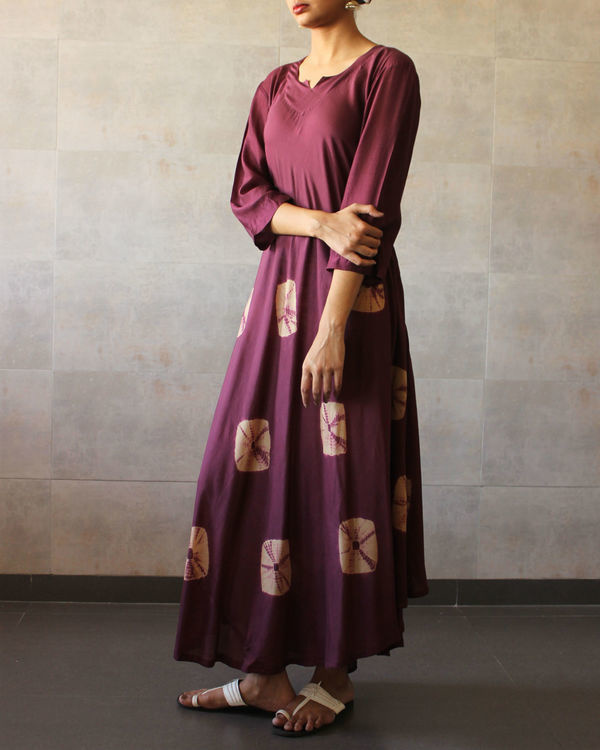 Wine beige bandhej dress 1