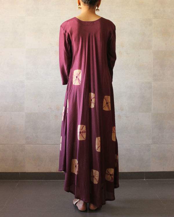 Wine beige bandhej dress 2