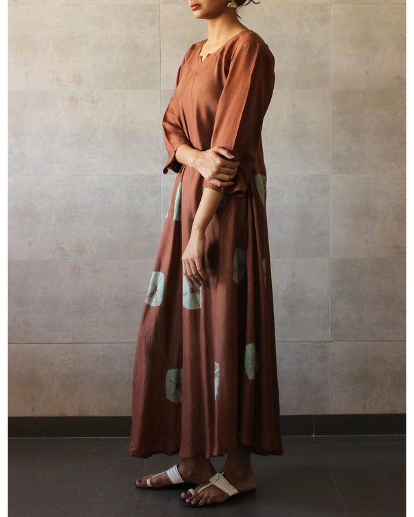 Brown mint bandhej dress 1