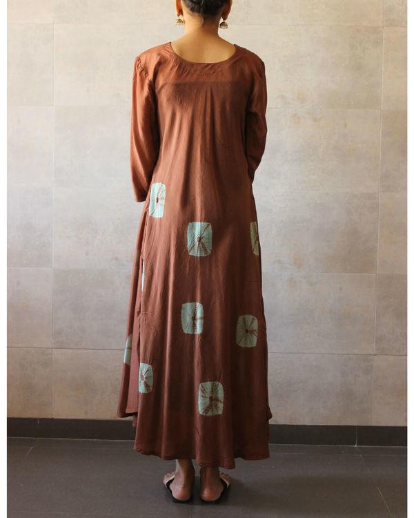 Brown mint bandhej dress 2
