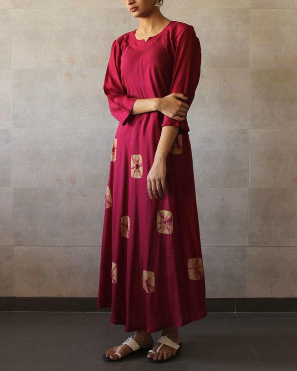 Red beige bandhej dress 1