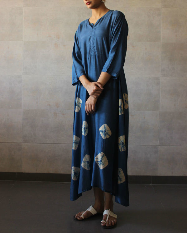 Blue yoke bandhej dress 1