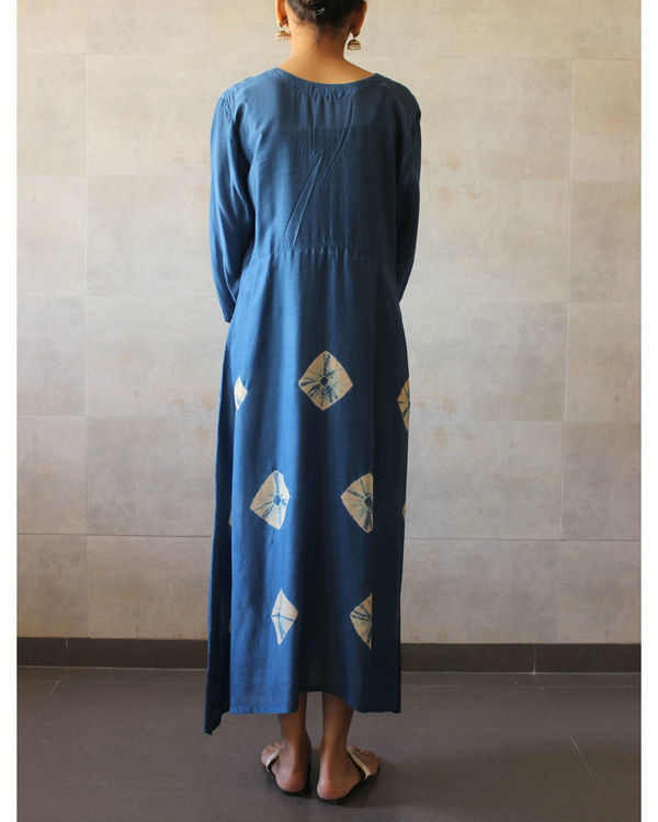 Blue yoke bandhej dress 2