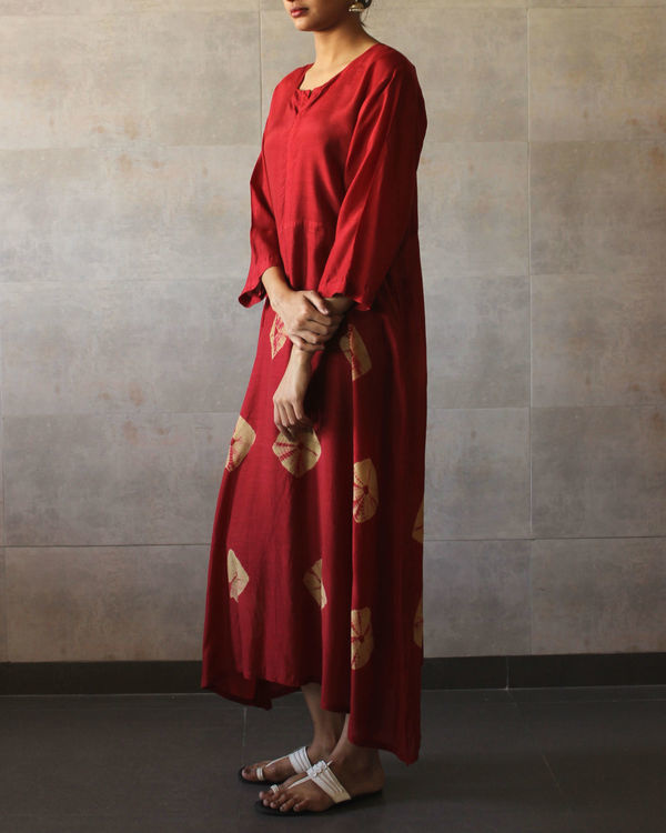 Red yoke bandhej dress 1