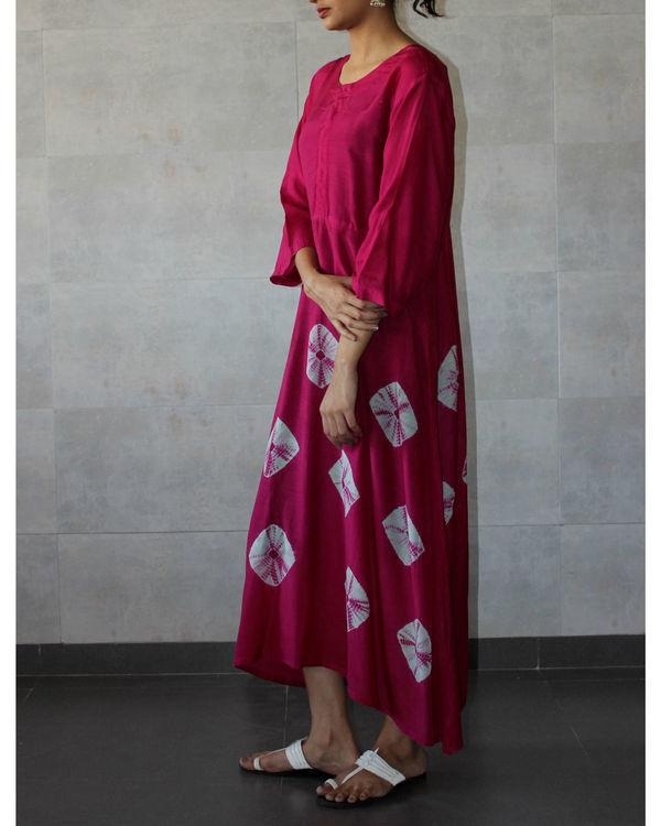 Deep pink yoke bandhej dress 1