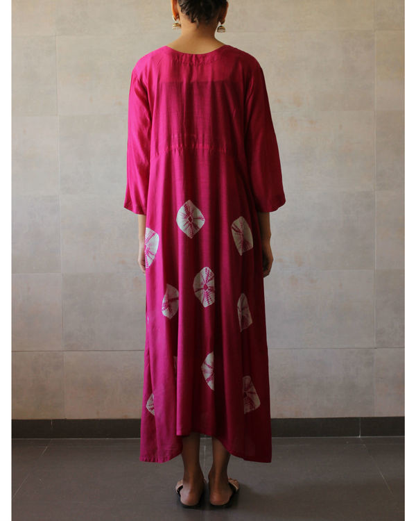 Deep pink yoke bandhej dress 2