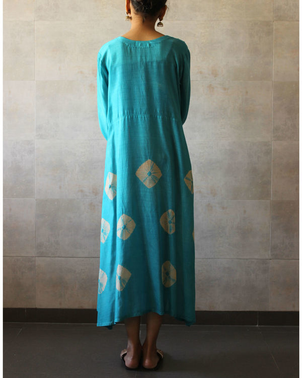Turqouise yoke bandhej dress 2