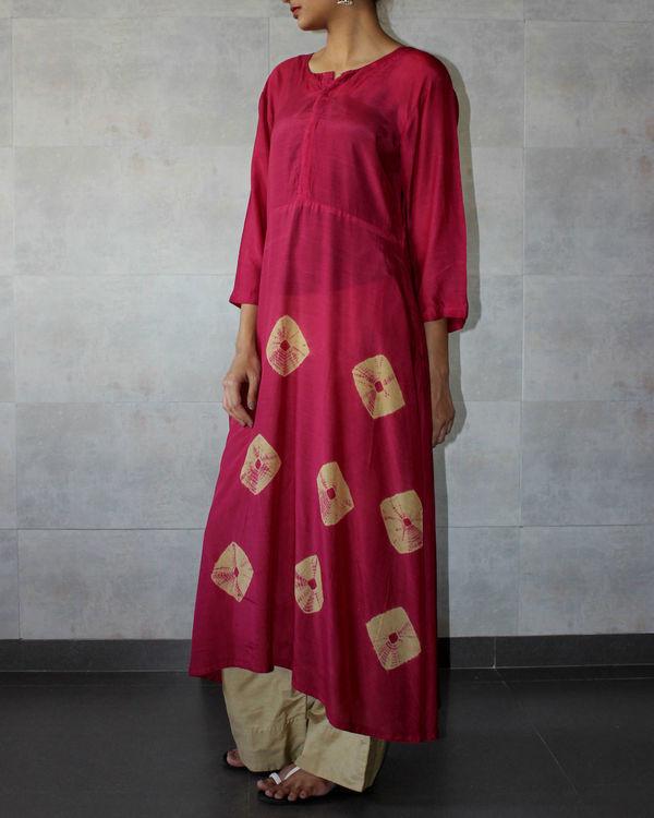 Deep red yoke bandhej dress 1