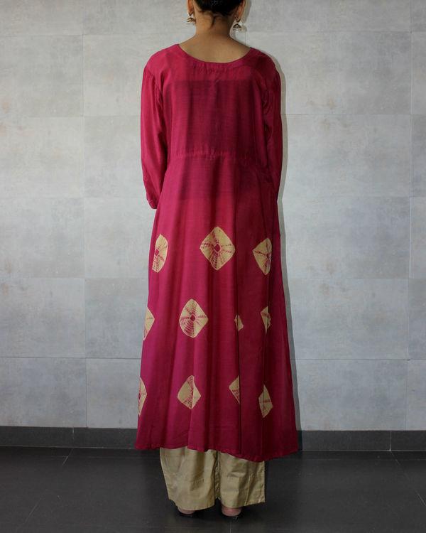 Deep red yoke bandhej dress 2