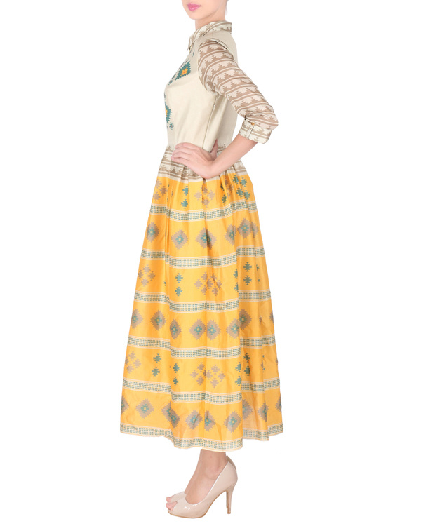 Chanderi long ankle length dress 3
