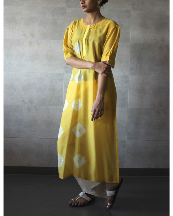 Yellow bandhej straight tunic 1