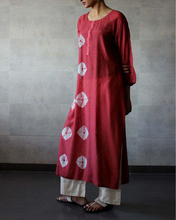 Rust bandhej straight tunic 1